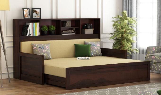 Zibah Sofa Cum Couch With Storage (King Size, Walnut Finish)-2