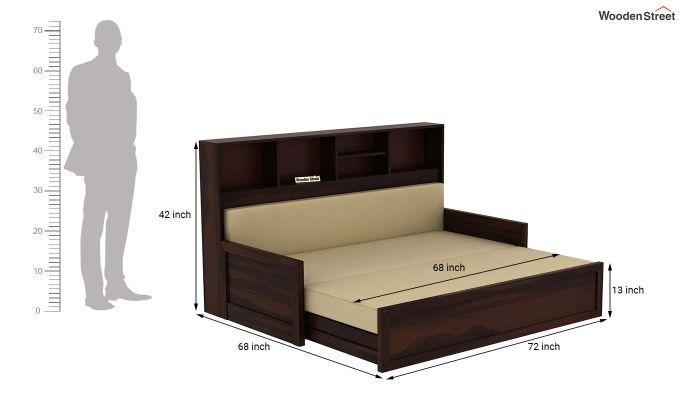 Zibah Sofa Cum Couch With Storage (King Size, Walnut Finish)-9