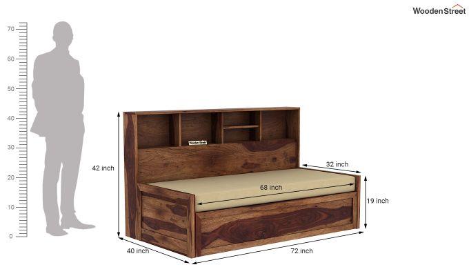 Zibah Sofa Cum Couch With Storage (King Size, Teak Finish)-8