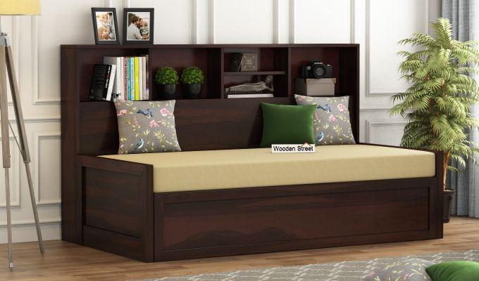 Zibah Sofa Cum Couch With Storage (King Size, Walnut Finish)-1