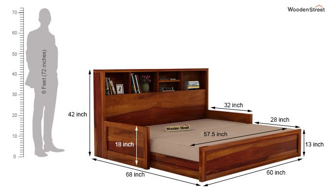 Zibah Sofa Cum Couch With Storage (Queen Size, Honey Finish)-10