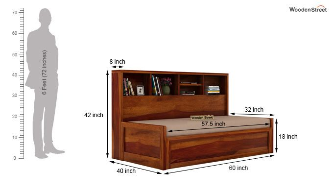 Zibah Sofa Cum Couch With Storage (Queen Size, Honey Finish)-9