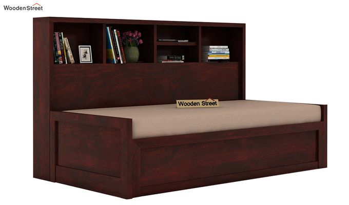 Zibah Sofa Cum Couch With Storage (Queen Size, Mahogany Finish)-1