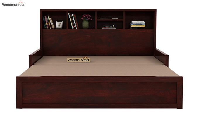 Zibah Sofa Cum Couch With Storage (Queen Size, Mahogany Finish)-6