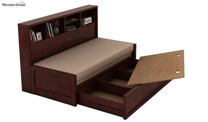 Zibah Sofa Cum Couch With Storage (Queen Size, Mahogany Finish)-4