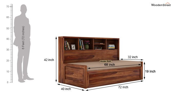Zibah Sofa Cum Couch With Storage (King Size, Teak Finish)-7