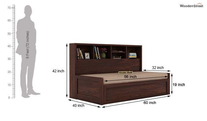 Zibah Sofa Cum Couch With Storage (Queen Size, Walnut Finish)-7