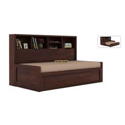 Zibah Sofa Cum Couch With Storage (King Size, Walnut Finish)