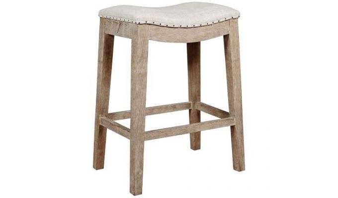 Bagnell Stool (Ivory, Teak Finish)-1