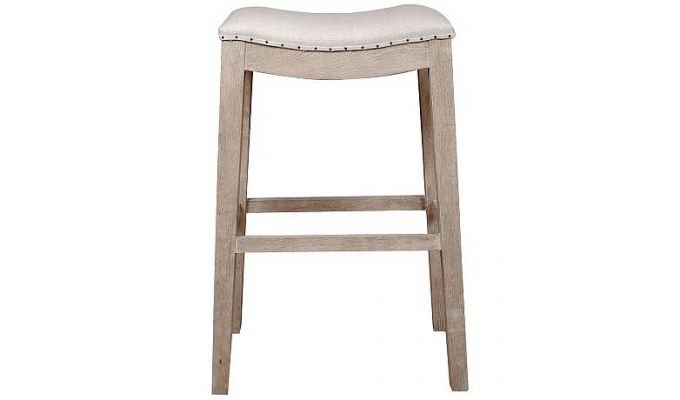 Bagnell Stool (Ivory, Teak Finish)-2