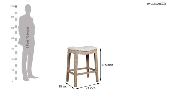 Bagnell Stool (Ivory, Teak Finish)-3