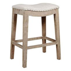 Bagnell Stool (Ivory, Teak Finish)