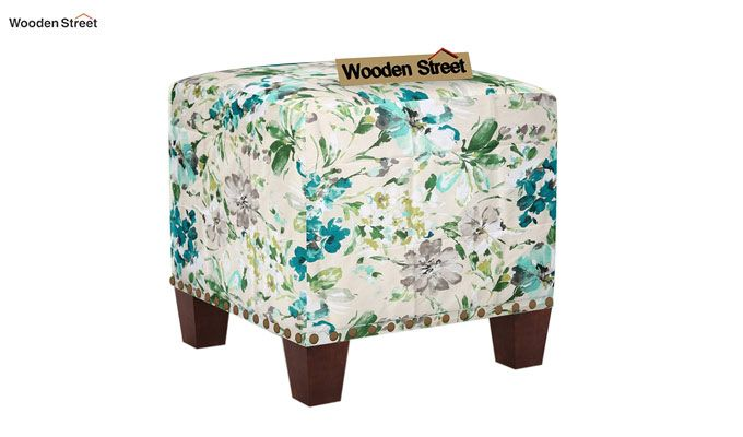 Bolt Stool (Walnut Finish, Aqua Flower)-2