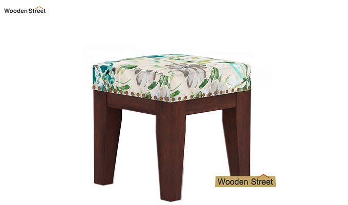 Clan Stool (Walnut Finish, Aqua Flower)-2