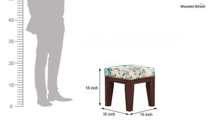 Clan Stool (Walnut Finish, Aqua Flower)-4