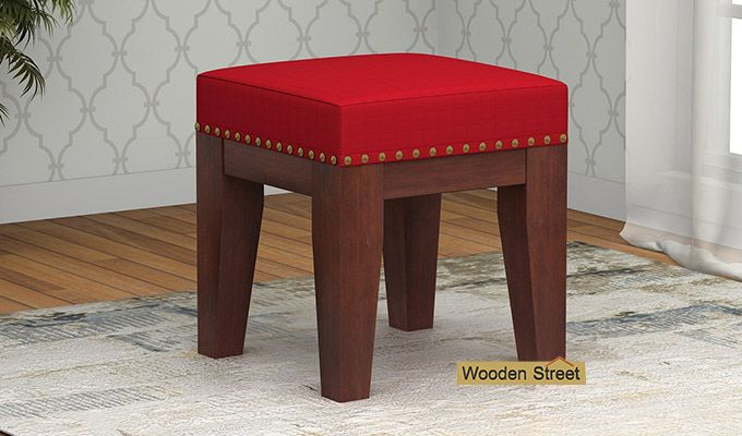 Clan Stool (Walnut Finish, Dusky Rose)-1