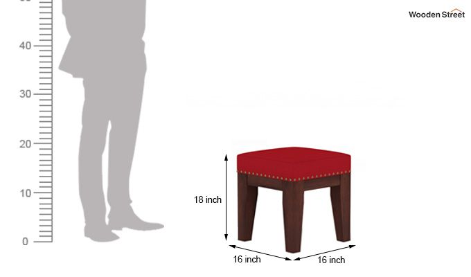 Clan Stool (Walnut Finish, Dusky Rose)-4