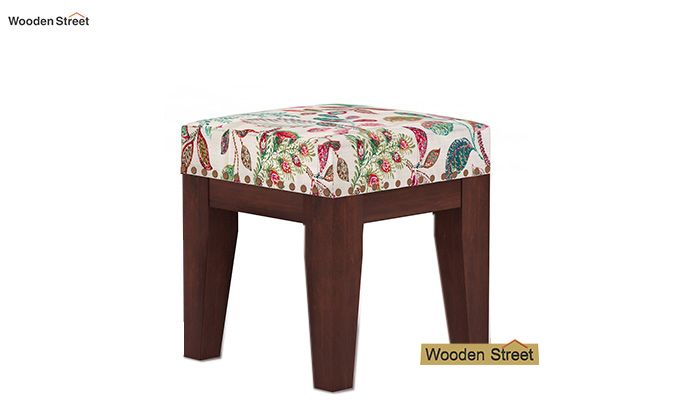Clan Stool (Walnut Finish, Rosy Leaf)-2