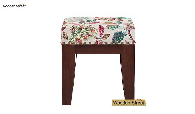 Clan Stool (Walnut Finish, Rosy Leaf)-3