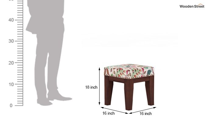 Clan Stool (Walnut Finish, Rosy Leaf)-4