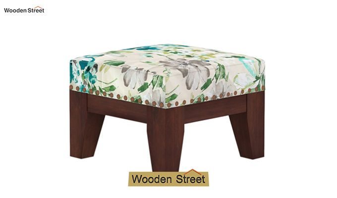 Ditor Stool (Walnut Finish, Aqua Flower)-2