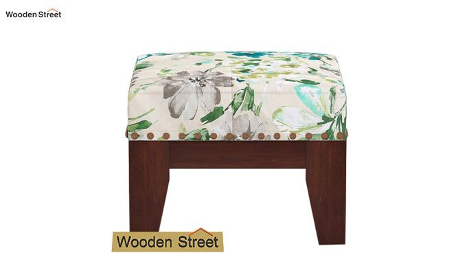 Ditor Stool (Walnut Finish, Aqua Flower)-3