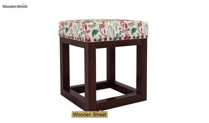 Darcy Stool (Walnut Finish, Rosy Leaf)-2