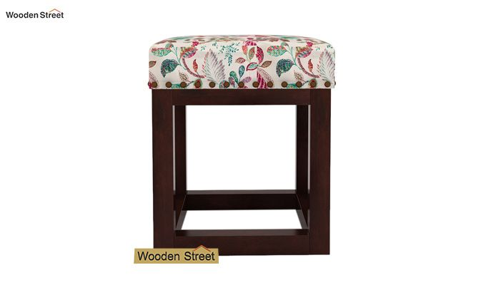 Darcy Stool (Walnut Finish, Rosy Leaf)-3