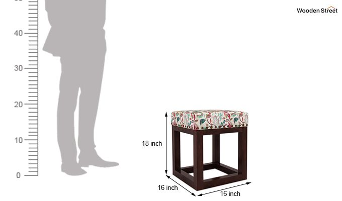 Darcy Stool (Walnut Finish, Rosy Leaf)-4