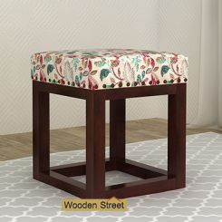 Darcy Stool (Walnut Finish, Rosy Leaf)