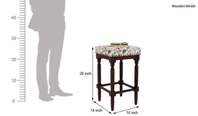 Fennec Stool (Walnut Finish, Rosy Leaf)-4
