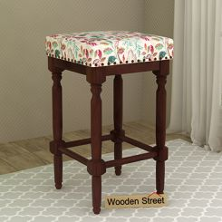 Fennec Stool (Walnut Finish, Rosy Leaf)