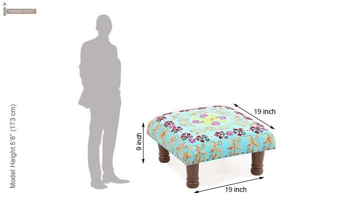 Flan Stool With Cushion (Walnut Finish)-5
