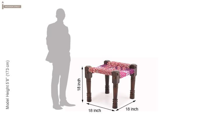 Hamil Side Stool (Walnut  Finish)-4