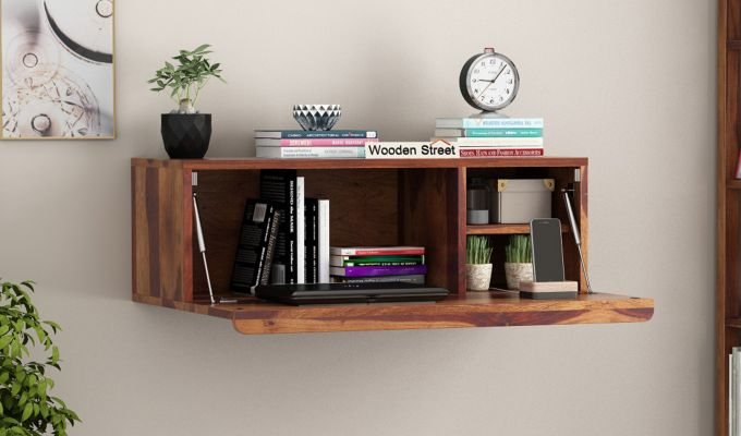 Ace Wall-Mounted Study Table (Teak Finish)-1