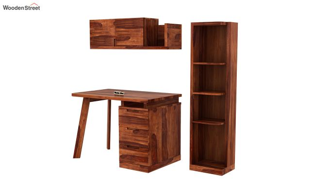 Adolf Study Table With Drawers (Honey Finish)-4