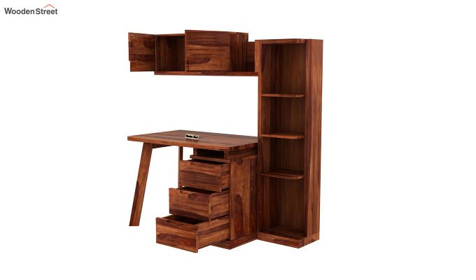 Adolf Study Table With Drawers (Honey Finish)-6