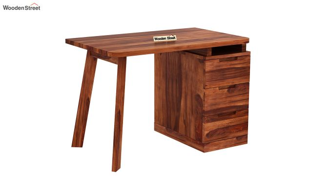 Adolf Study Table With Drawers (Honey Finish)-8