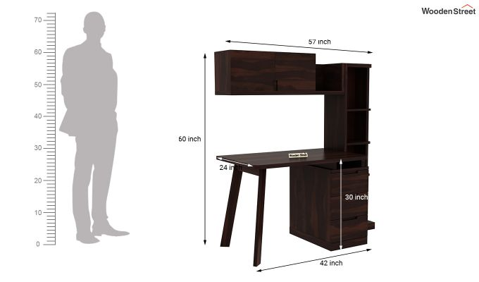 Grande Study Table With Drawers (Walnut Finish)-9
