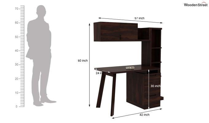Adolf Study Table With Drawers (Walnut Finish)-9