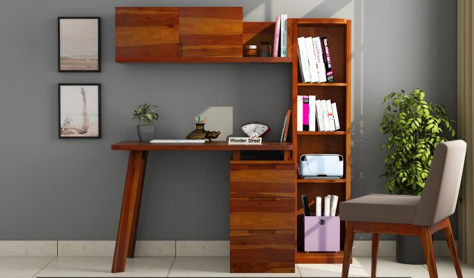 Adolf Study Table With Drawers (Honey Finish)-2