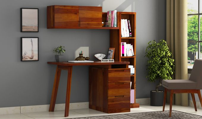 Adolf Study Table With Drawers (Honey Finish)-1