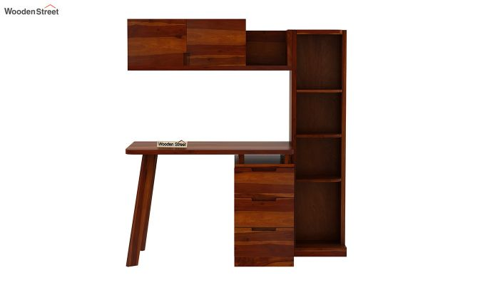 Adolf Study Table With Drawers (Honey Finish)-5