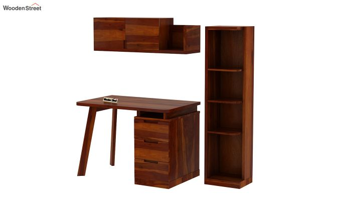 Adolf Study Table With Drawers (Honey Finish)-9