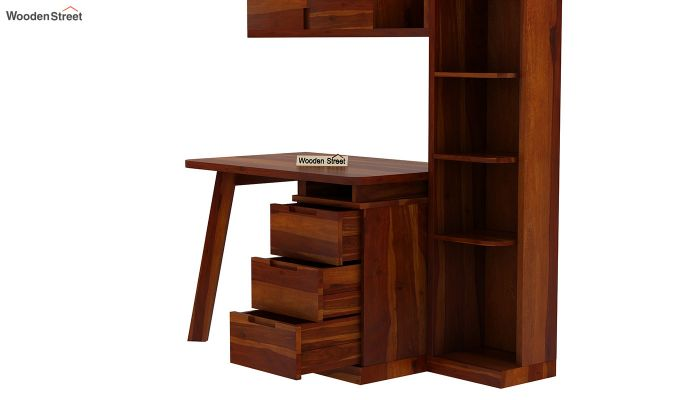Adolf Study Table With Drawers (Honey Finish)-10