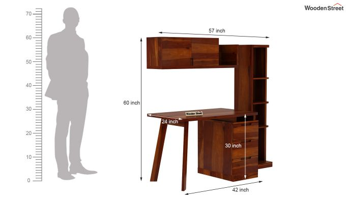 Adolf Study Table With Drawers (Honey Finish)-11