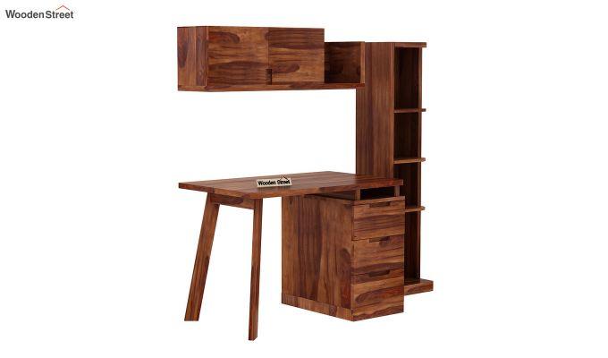 Adolf Study Table With Drawers (Teak Finish)-3