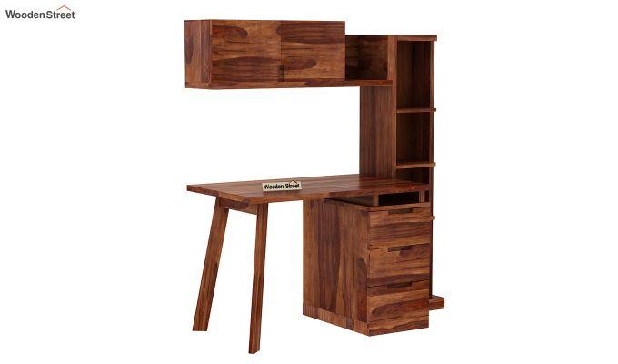 Adolf Study Table With Drawers (Teak Finish)-4