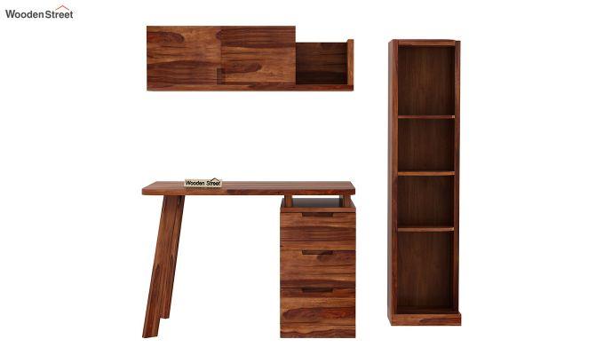 Adolf Study Table With Drawers (Teak Finish)-6