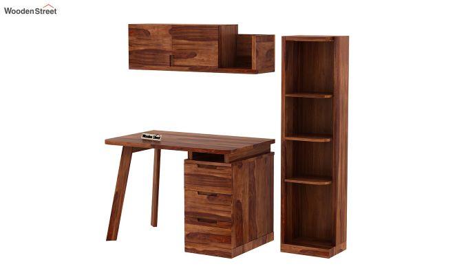 Adolf Study Table With Drawers (Teak Finish)-9
